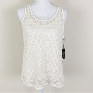 VINCE CAMUTO NWT Cream Lace 2 Layer Tank